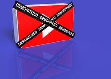 Вы логотип трубки с черным крестом при demonetized слово стоковая фотография
