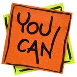 Вы можете - мотивационное примечание напоминания Стоковое Изображение RF
