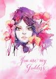 Вы моя богиня - шаблон поздравительной открытки с щеголем акварели Стоковая Фотография RF