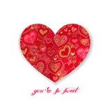 Вы настолько сладостный дизайн каллиграфии с красной бумажной формой h сердца иллюстрация вектора