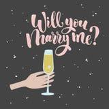 Вы поженитесь я литерность Вручите вычерченную иллюстрацию вектора, поздравительную открытку, дизайн, логотип на день валентинки