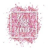 Вы полюбленный текст близкое сообщение влюбленности снятое вверх Розовый confetti внутри в рамке белого квадрата Романтичная пред иллюстрация вектора