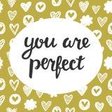 Вы совершенная милая литерность Стоковое Изображение RF