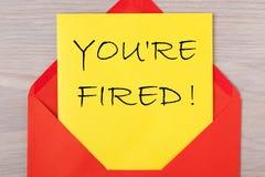 Вы увольнянный re `! стоковые изображения
