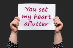 Вы установили мое сердце aflutter стоковое изображение rf