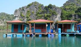 Вьетнам - залив Ha длинный - близкий вверх красочных голубых деревянных домов на плавая деревне Vung Vieng Стоковое фото RF