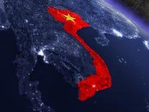 Вьетнам с врезанным флагом от космоса бесплатная иллюстрация