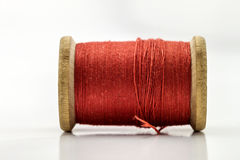 Вьюрок или катышка красного шить потока изолированного на белизне Отмелый de стоковое изображение