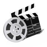 Вьюрок фильма с лентой кино около Clapboard перевод 3d Стоковые Изображения RF