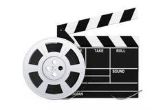 Вьюрок фильма с лентой кино около Clapboard перевод 3d Стоковые Изображения