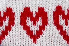 вязание крючком сердца и вязать ткань Стоковые Изображения RF