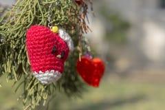 Вязание крючком сердца ручной работы Стоковые Изображения