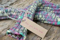 вязать зима подарка на рождество перчатки шерстей Стоковое Фото