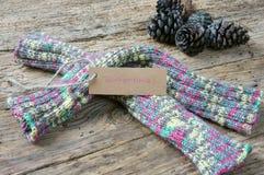вязать зима подарка на рождество перчатки шерстей Стоковая Фотография RF