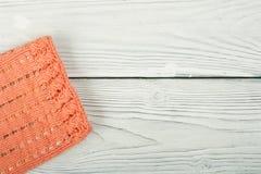 Вязать текстуры ткани свитера или шарфа большой Связанная предпосылка jersey с картиной сброса Оплетки в вязать Стоковая Фотография