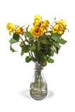Вянуть розы в вазе изолированной на белизне Стоковые Фото
