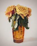 Вянуть розы в вазе Стоковое Изображение RF