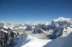 Вдавленные места du Midi в швейцарских Альпах Стоковое Фото