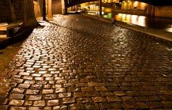 Влажная набережная в Париже на ноче стоковая фотография