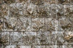 Влажная серая каменная стена кирпичей с проточной водой на ей Стоковые Фото