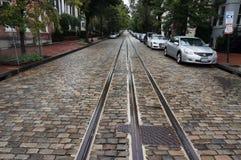 Влажная улица булыжника в Джорджтауне Стоковые Изображения