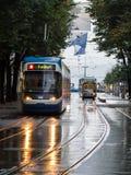 Влажные трамваи в Цюрихе Стоковая Фотография RF