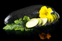 Влажные courgettes отрезали в куски с цветком и лист на черноте Стоковое фото RF