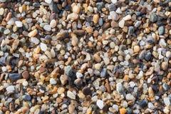 Влажный песок и малые камни на крупном плане пляжа Стоковые Фотографии RF