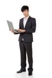 Владение бизнесмена компьтер-книжка стоковое изображение