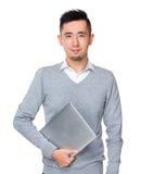 Владение бизнесмена с портативным компьютером Стоковое Изображение RF