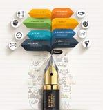 владение домашнего ключа принципиальной схемы дела золотистое достигая небо к Шаблон стрелки речи ручки и пузыря Стоковое фото RF