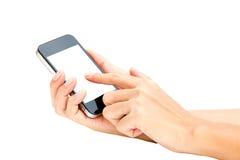 Владение руки женщины и телефон экрана касания умный, таблетка, мобильный телефон o стоковые изображения