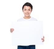 Владение человека с белой доской Стоковые Фото