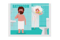 В ванной комнате, люди чистят щеткой, женщины купают вызывающ A.M. стоковое фото