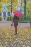 В девушке парка красивой с зонтиком и листьями в осени Стоковая Фотография RF