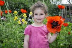 В лете, сад маленькая девочка в маках Стоковая Фотография