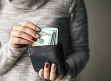 В женщинах руки ` s кожаный бумажник с валюшкой 100 долларов Предложение дела красивейший manicure Стоковая Фотография RF