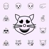 в значке кота любов Набор значков Emoji всеобщий для сети и черни иллюстрация вектора