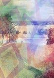 Влияние осенних деревьев, река двойной экспозиции Стоковая Фотография RF