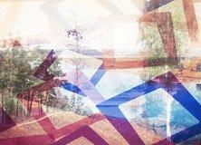 Влияние осенних деревьев, река двойной экспозиции Стоковое фото RF