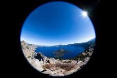 Влияние Рыб-глаза национального парка озера кратер Стоковое Изображение RF