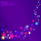 Влияния зарева вектора звезд предпосылки фиолетовые иллюстрация штока