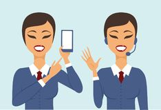 В концепции поддержки клиентов app Стоковые Фотографии RF