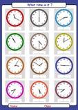 В котором часу оно, что время, рисует время, уча сказать время иллюстрация вектора