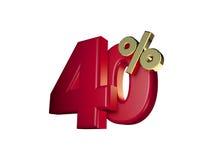 40% в красном цвете и золоте иллюстрация вектора