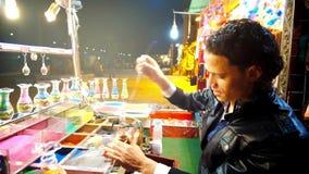 В мастерской художника песка, Sharm El Sheikh, Египет сток-видео