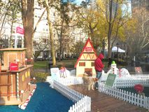 В натуральную величину дома пряника всплывающие в квадрате Madison паркуют Стоковое фото RF