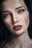 Вдова в вуалях, портрет молодой женщины брюнет против темной предпосылки Загадочное яркое изображение женщины с профессионалом Стоковые Изображения