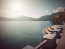 В осени Басня фантазии в парке с сценой восхода солнца стоковые фотографии rf