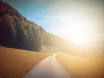 В осени Басня фантазии в парке с сценой восхода солнца стоковые изображения rf